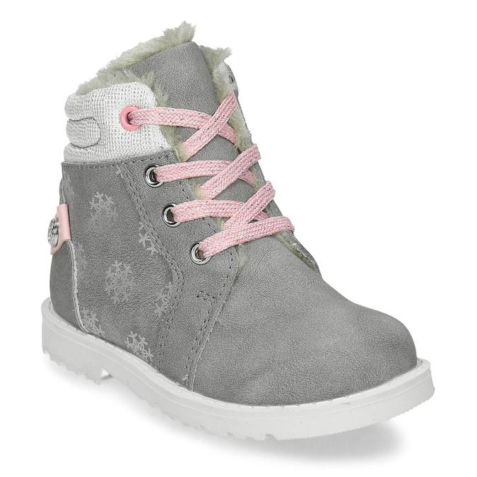 Béžová dětská zimní obuv s kožíškem bubblegummers, šedá, 191-2604 - 13