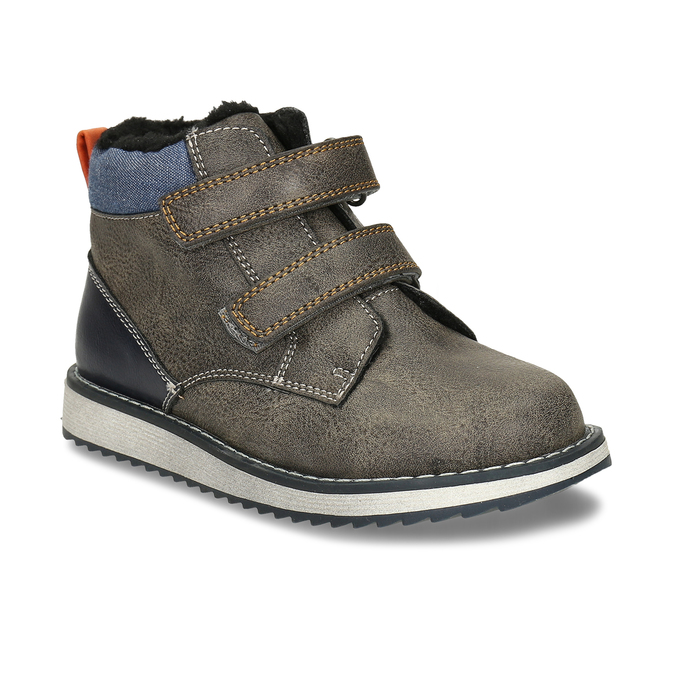 Hnědá kožená chlapecká zimní obuv mini-b, šedá, 291-4631 - 13