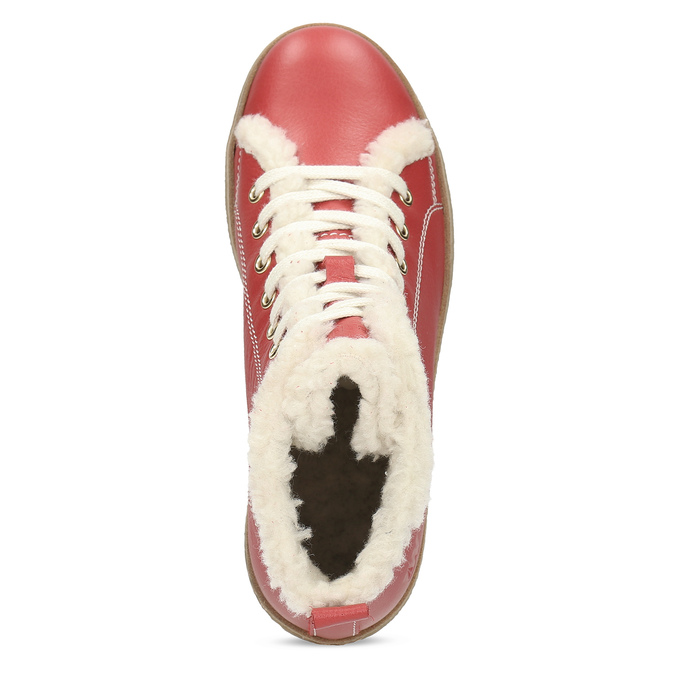 Kožená červená kotníčková obuv se zateplením weinbrenner, červená, 594-5600 - 17