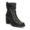 Kožené černé kozačky na stabilním podpatku bata, černá, 794-6618 - 13