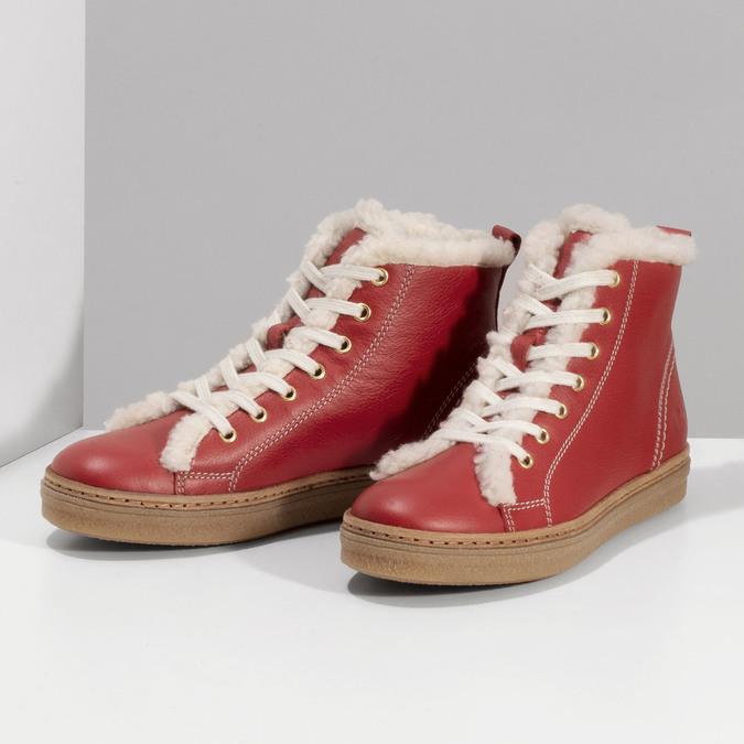 Kožená červená kotníčková obuv se zateplením weinbrenner, červená, 594-5600 - 16