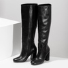 Černé kožené kozačky na stabilním podpatku bata, černá, 794-6624 - 16