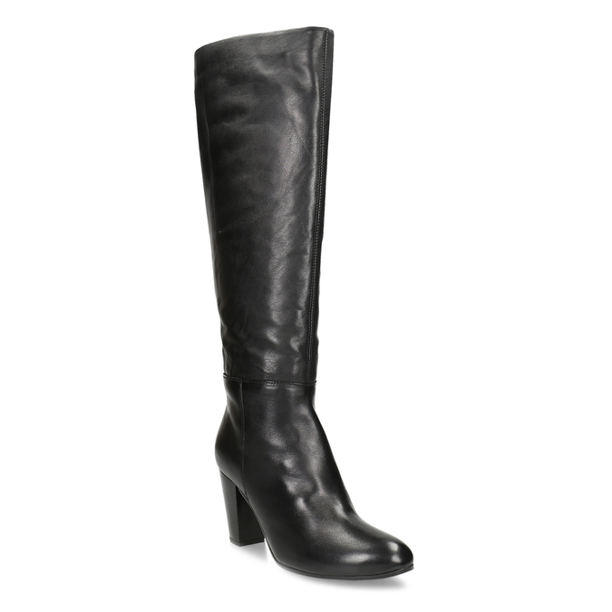 Černé kožené kozačky na stabilním podpatku bata, černá, 694-6614 - 13