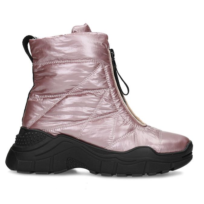 Metalicky růžové dámské sněhule bata, růžová, 591-5650 - 19
