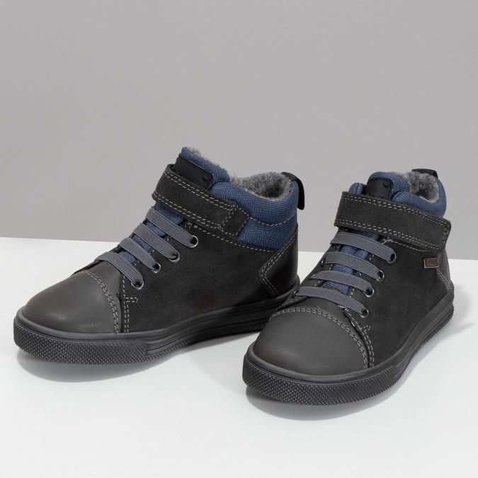 Šedá dětská kotníčková obuv z broušené kůže richter, šedá, 216-2600 - 16