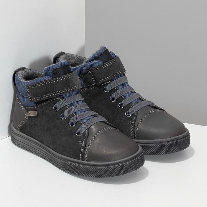 Šedá dětská kotníčková obuv z broušené kůže richter, šedá, 216-2600 - 26