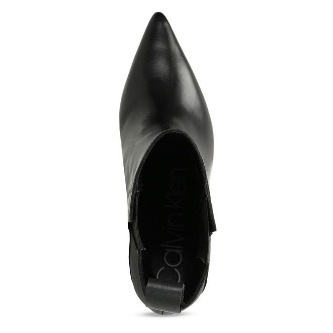 Dámské černé kožené kotníčkové kozačky calvin-klein, černá, 694-6558 - 17