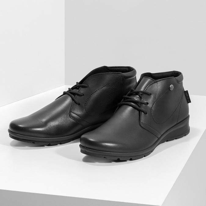 Dámská černá kožená kotníčková obuv comfit, černá, 594-6707 - 16