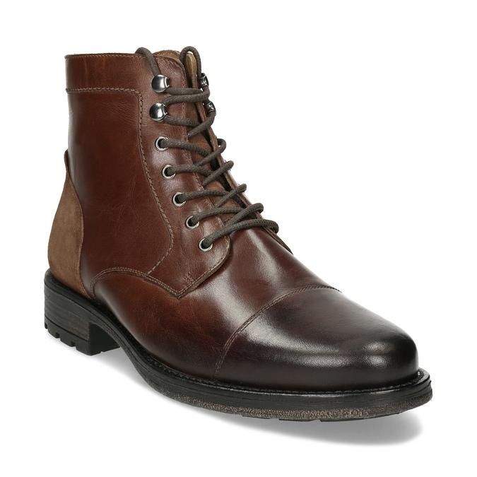 Pánská hnědá kožená kotníčková obuv bata, hnědá, 896-3767 - 13