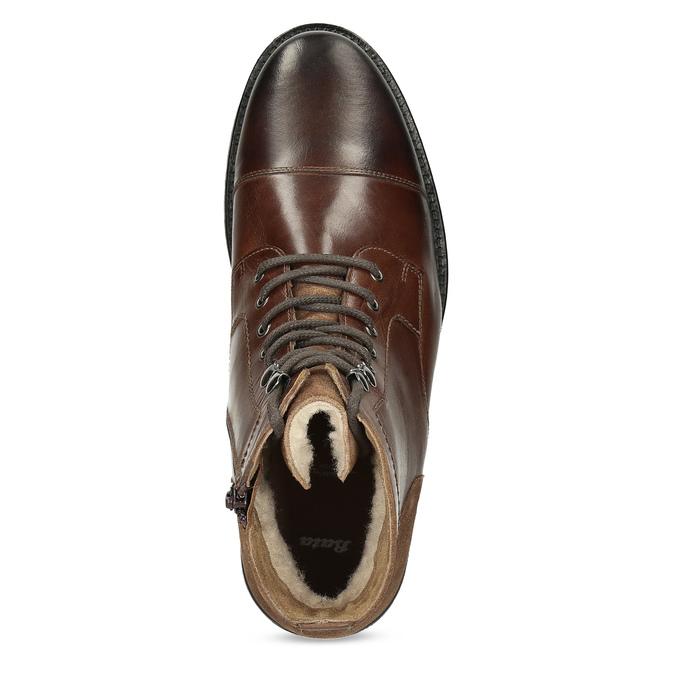 Pánská hnědá kožená kotníčková obuv bata, hnědá, 896-3767 - 17