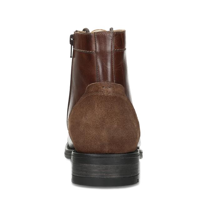 Pánská hnědá kožená kotníčková obuv bata, hnědá, 896-3767 - 15