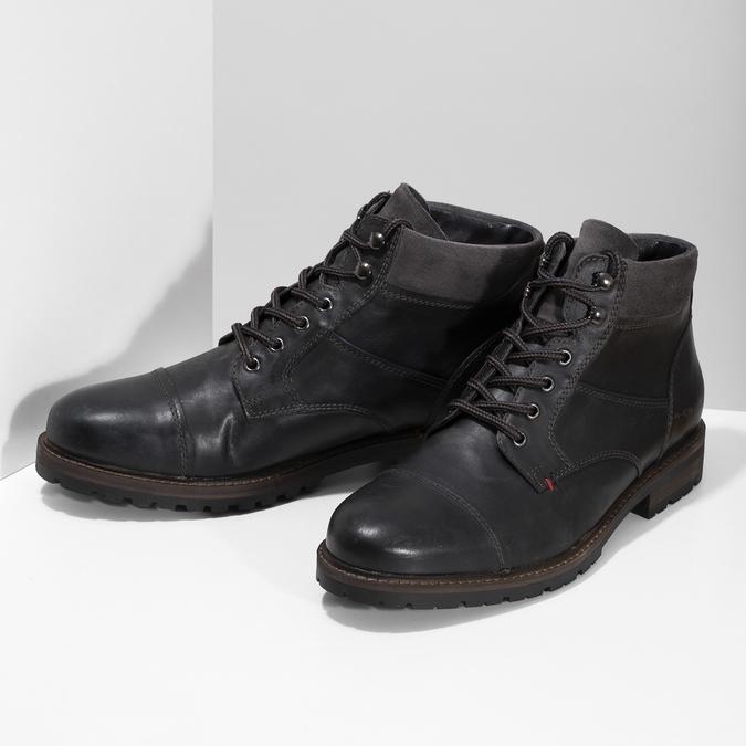 Pánská černá kožená kotníčková obuv bata, šedá, 896-2748 - 16
