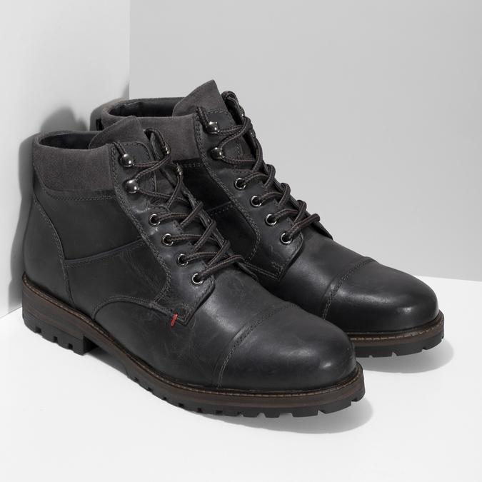 Pánská černá kožená kotníčková obuv bata, šedá, 896-2748 - 26