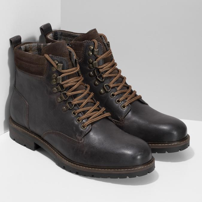 Pánská hnědá kožená kotníčková obuv bata, hnědá, 896-4748 - 26
