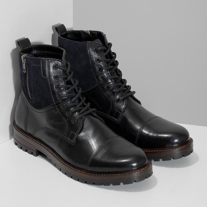 Pánská kožená kotníčková obuv bata, černá, 896-6765 - 26