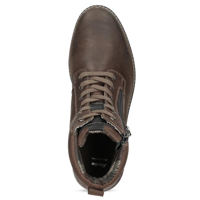 Pánská hnědá kožená kotníčková obuv bata, hnědá, 896-4601 - 17