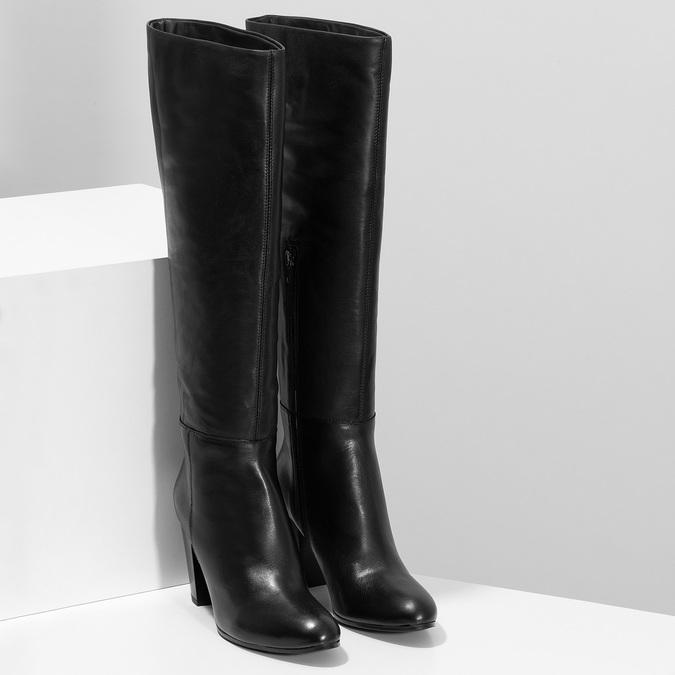 Černé kožené kozačky na stabilním podpatku bata, černá, 694-6614 - 26