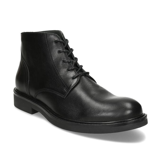 Pánská černá kožená kotníčková obuv bata, černá, 894-6705 - 13