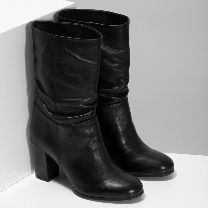 Černé dámské kožené kozačky s řasením bata, černá, 694-6622 - 26