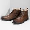 Kožená hnědá kotníčková obuv se zateplením bata, hnědá, 896-3749 - 16