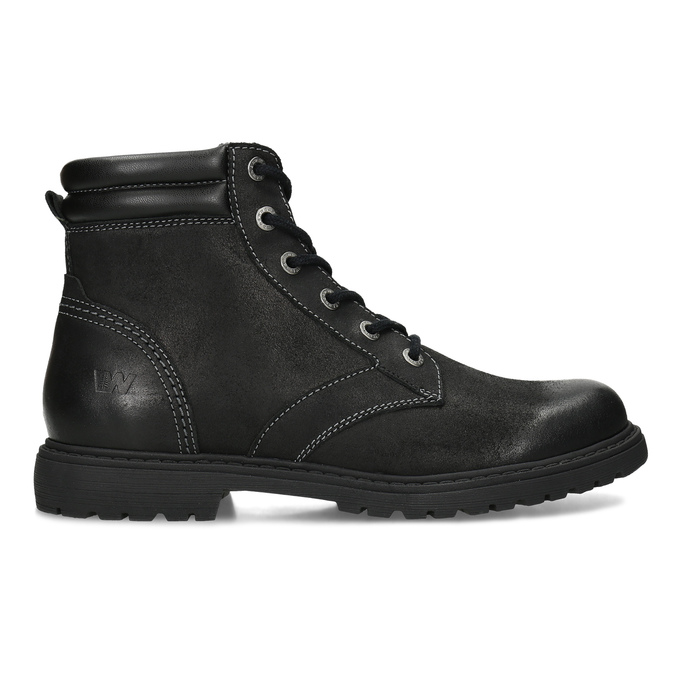 Černá kožená kotníčková obuv s prošitím weinbrenner, černá, 896-6693 - 19