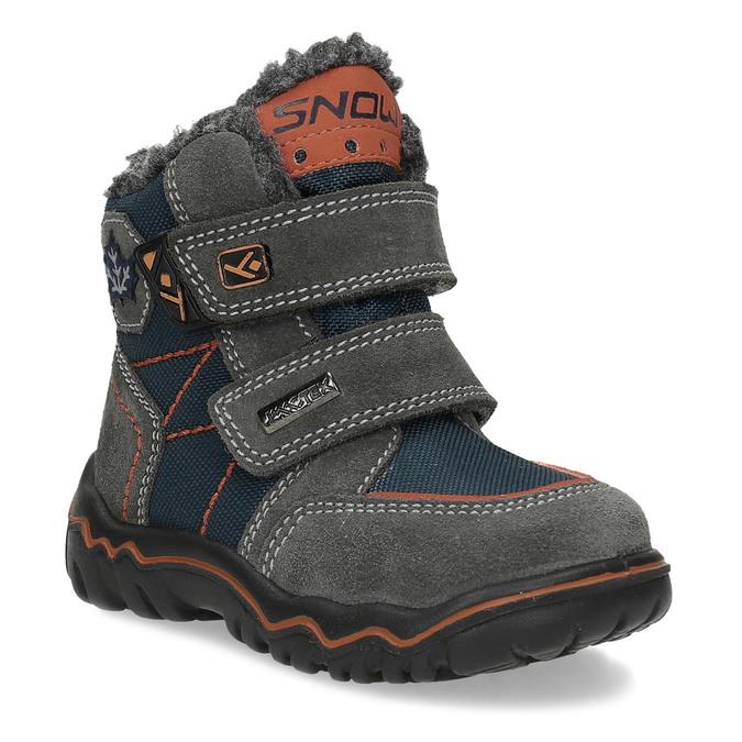 Dětská kožená zimní obuv na suché zipy bubblegummers, šedá, 193-3605 - 13