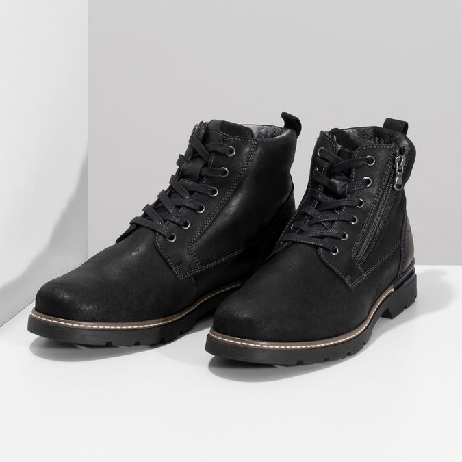 Černá pánská kožená kotníčková obuv bata, černá, 896-6601 - 16