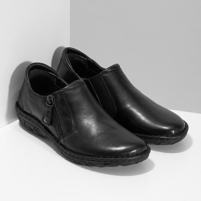 Dámská černá kožená Slip-on obuv bata, černá, 594-6625 - 26