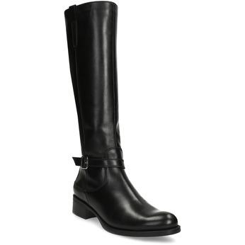 Černé dámské kožené kozačky s přezkou bata, černá, 594-6600 - 13