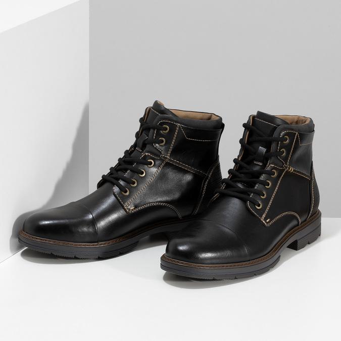 Pánská černá kotníčková obuv s prošitím bata-red-label, černá, 891-6610 - 16