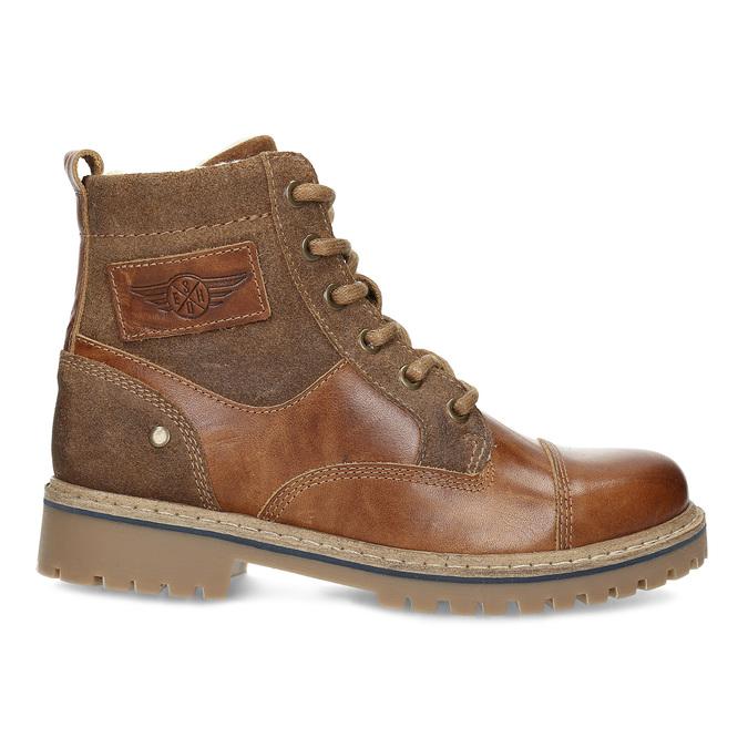 Dětská hnědá kožená kotníčková obuv mini-b, hnědá, 496-3612 - 19
