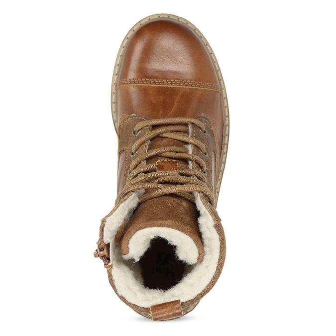 Dětská hnědá kožená kotníčková obuv mini-b, hnědá, 496-3612 - 17