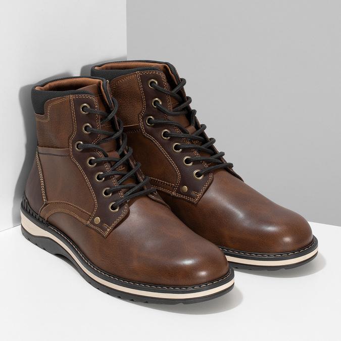 Hnědá pánská kotníčková obuv s prošitím bata-red-label, hnědá, 891-4606 - 26