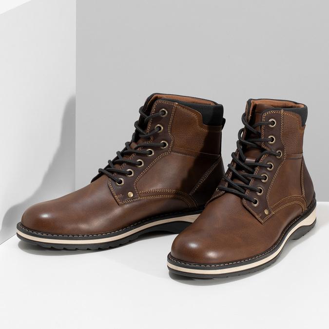 Hnědá pánská kotníčková obuv s prošitím bata-red-label, hnědá, 891-4606 - 16