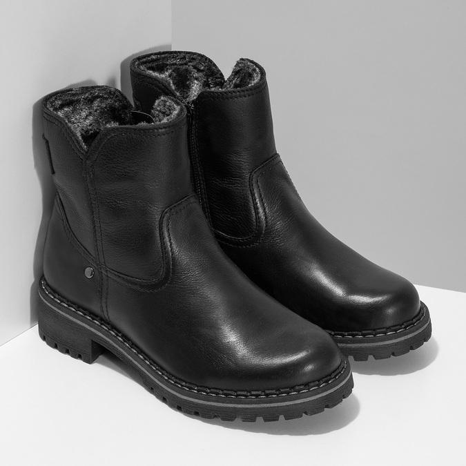 Dětské černá kožená kotníčková obuv s prošitím mini-b, černá, 396-6605 - 26