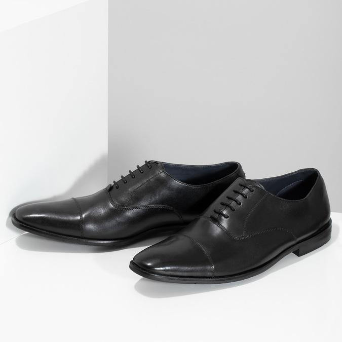 Pánské černé kožené Oxford polobotky bata, černá, 824-6671 - 16
