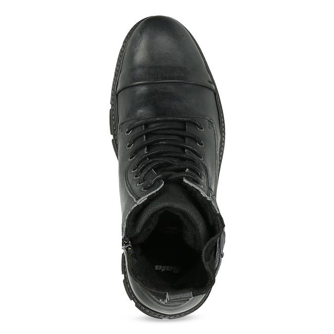 Kožená pánská kotníčková obuv s přezkou bata, černá, 896-6600 - 17