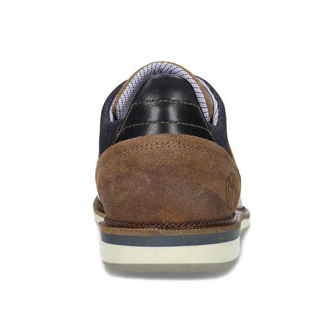 Pánské hnědé kožené Derby polobotky bata, hnědá, 826-3602 - 15