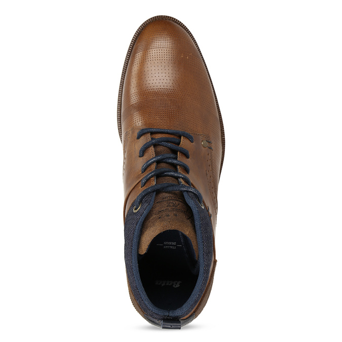 Hnědá kožená pánská kotníčková obuv bata, hnědá, 826-3603 - 17