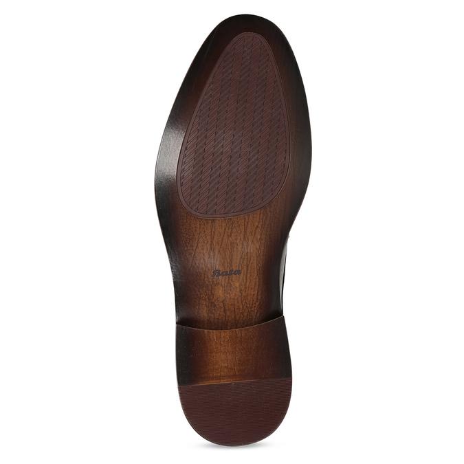 Hnědé kožené pánské polobotky s perforací bata, hnědá, 826-3658 - 18
