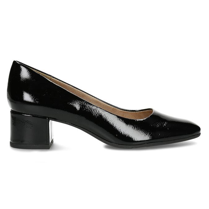 Černé lakované lodičky na stabilním podpatku bata, černá, 621-6614 - 19