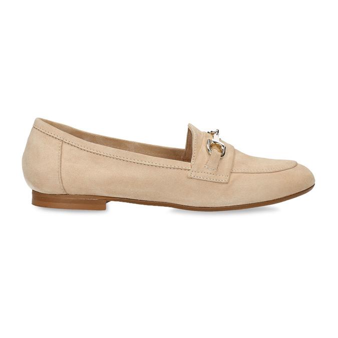 Béžové dámské mokasíny z broušené kůže bata, béžová, 513-3601 - 19