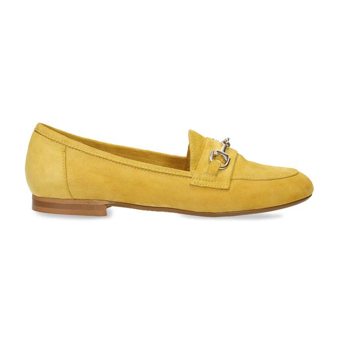 Žluté dámské mokasíny z broušené kůže bata, žlutá, 513-8601 - 19