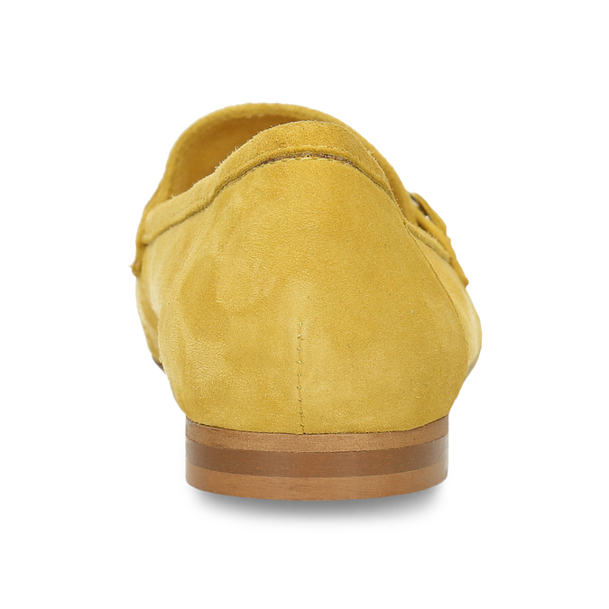 Žluté dámské mokasíny z broušené kůže bata, žlutá, 513-8601 - 15