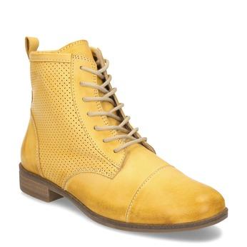 Žlutá dámská kožená kotníčková obuv bata, žlutá, 596-8602 - 13