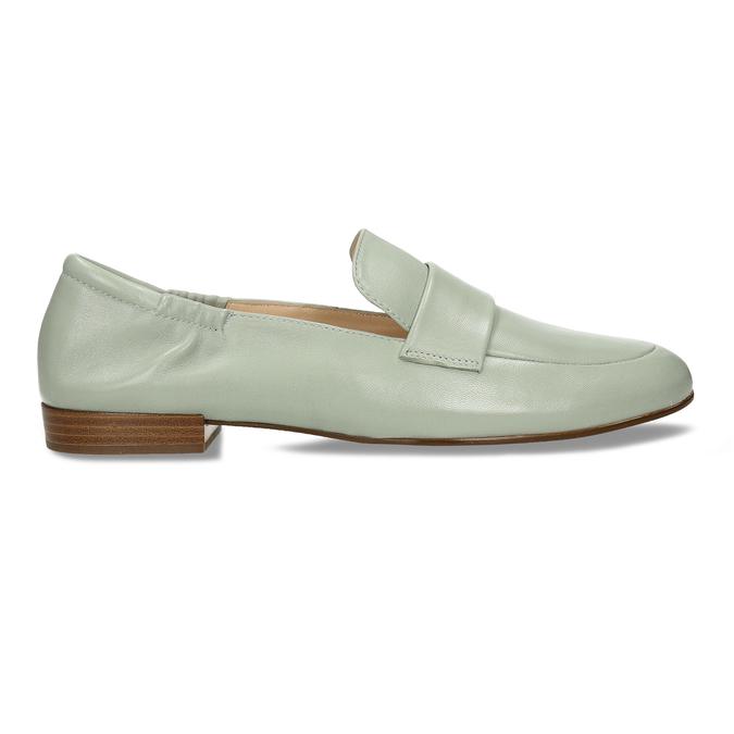 Dámská kožená světle zelená loafers obuv hogl, zelená, 514-6108 - 19