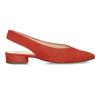 Kožené červené lodičky na nízkém podpatku s páskem hogl, červená, 563-5102 - 19