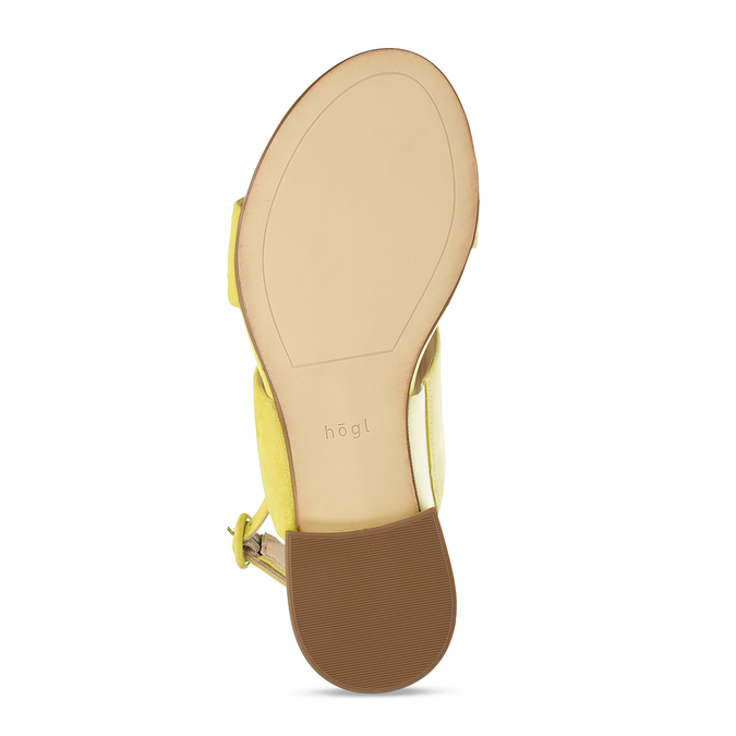Dámské kožené žluté páskové sandály hogl, žlutá, 563-8102 - 18