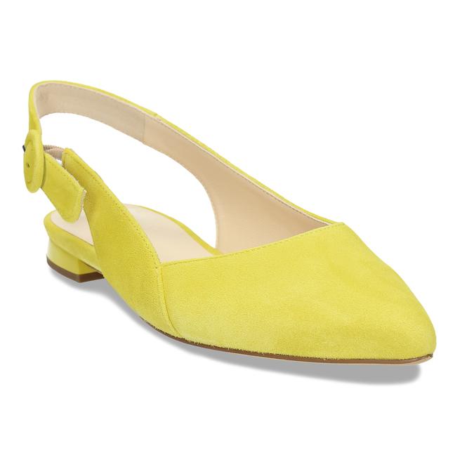 Dámské kožené žluté baleríny hogl, žlutá, 563-8101 - 13