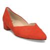Kožené červené lodičky na nízkém podpatku hogl, červená, 623-5102 - 13